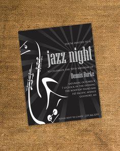 Jazz Party Invitation | PRINTABLE Adult Birthday Party Invitation - Guitar/Jazz Theme
