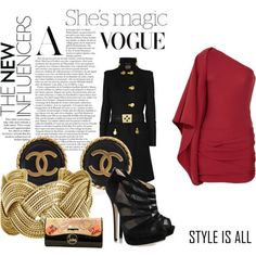 #personal #fashion #style #outfit #polyvore #jayahr #dress #red #versace #military #coat #jacket #black #gold #shoes #pumps #heels #ankleboots #boots #jimmychoo #christianlouboutin #clutch #satya #cuff #bracelet #jewelry #chanel #earrings