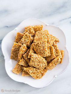 Sesame Brittle ~ Crunchy sesame brittle, so easy to make! With sesame seeds, sugar, and honey. ~ SimplyRecipes.com