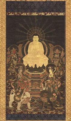 Shaka Sanzon (Shaka Triad) Historical Buddha in center, Fugen on left atop elephant, Monju on right atop lion. -. Nanboku Era (1333-1392)