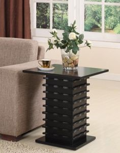 Black Finish Slated Base End Table Coffee Console Home Living Modern Room Style