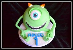 Who recognizes this little guy? My first Sphere cake and i feel about as happy with the outcome as he does If you did't recognize him his name is Mike Wazowski from Monsters Inc. Happy Birthday Khaleel Cake flavor is Banana Choc chip with chocolate buttercream.  <3 this guy