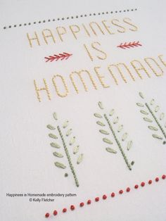 Happiness is Homemade hand embroidery pattern by KFNeedleworkDesign on Etsy