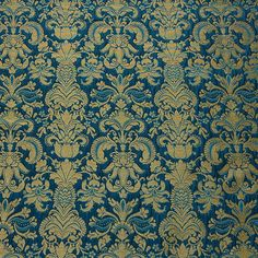 Egyptian Damask Blue Polyester Brocade 58 Inch Fabric by the yard, 1 Yard