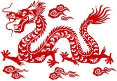 Dragon chinois papier découpé d'Art cliparts vectoriels libres de droits