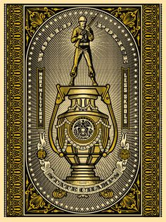 WORLD POLICE STATE CHAMPIONS (GOLD) by Obey Giant