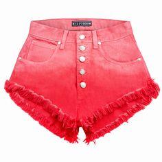 MISSDENIM | Classic Watermelon Buttons - Miętowe szorty jeansowe z wysokim stanem.
