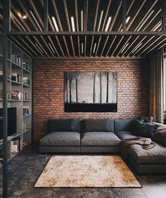 Sala de estar com parede de tijolinhos 😍. Aquela pegada industrial que amamos, não é verdade?Fonte: Pinterest#sala #living #livingroom #tijolinhos #industrial #industrialstyle