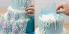 Frozen Tiered Cake Snowflake and Ice