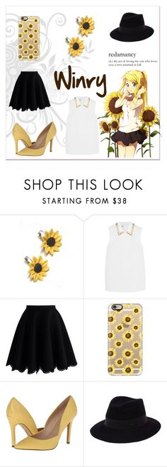 """""""Winry Rockbell inspired look - Fullmetal Alchemist: requested by @shark-bait29"""" by brighteyes1708 ❤ liked on Polyvore featuring Summer and Silver, Miu Miu, Chicwish, Casetify, Charles by Charles David and Maison Michel"""