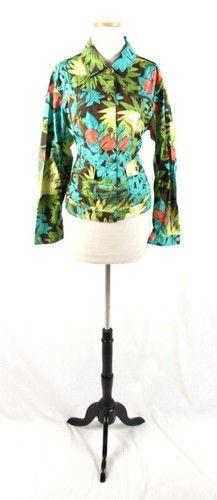 Adventurous Chico's Blue Green Brown Orange Tropical Button Down Dress Shirt 1 | eBay