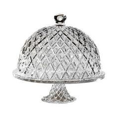 Set out decadent desserts on this cut crystal cake plate, featuring a footed design and complementing cloche.     Product: Domed cak...