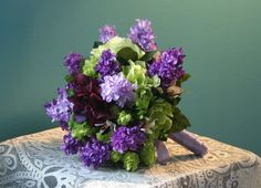 purple and green bouquets | Purple, Lilac, and Lime Green Wedding Bouquet - Groom's Boutonniere ...