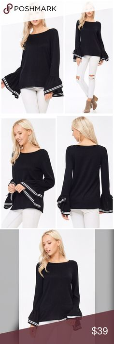 PREORDER Soft/Stunning Exaggerated Bell Sleeve Top A bell sleeve top with a round neck featuring contrast banding. Fabric is soft and comfortable.  Price is firm. Tops