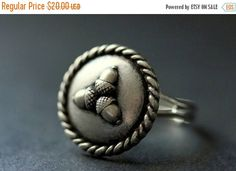 EASTER SALE Acorn Ring. Acorn Button Ring. Silver Button Ring. Adjustable Ring. Silver RIng. Handmade Ring. Acorn Jewelry. Handmade Jewelry. by StumblingOnSainthood from Stumbling On Sainthood. Find it now at http://ift.tt/2otq8rx!
