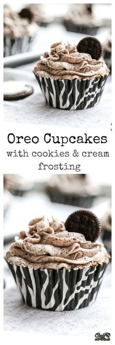 Oreo cupcakes with a delicious and smooth cookies & cream frosting! #cupcakes #dessert #oreos