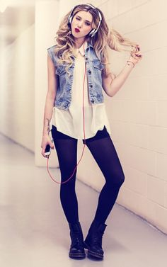 Jean vest over a pretty cream flowy top. Love this sweet and sassy look!