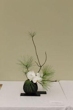 fleurs d'orchidée = sophistication branche de pin = simplicité