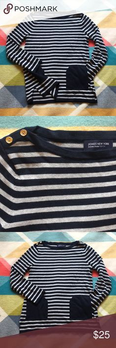 Striped tunic sweater with pockets Navy & Gray striped cotton sweater  Boatneck with gold button detail in both sides Side slit at hips on both sides  Super comfy and easy to layer with Oxford shirts Jones New York Sweaters Crew & Scoop Necks