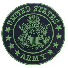 US Army Center Patch Circle United States Army Black w/ Green 12""