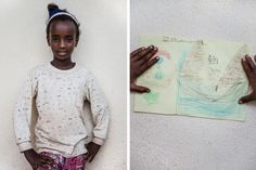 Twelve-year-old Yosan Equbit, who came to the refugee camp four years ago from Dubuaruba, Eritrea, drew a group trying to cross the Mediterranean Sea by boat. Yosan's sister fled to Europe across the Mediterranean and lives in Germany, while her father is currently in Libya waiting to cross. Children at the camp in Ethiopia are given materials and encouraged to draw as a way of processing their experiences.