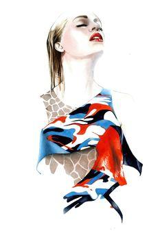 Fashion Illustration | by Antonio Suares | red & blue print | animal print | sketch | beauty