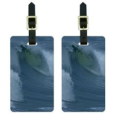 Ocean Wave  Surf Surfing Surfer Luggage Tags Suitcase CarryOn ID Set of 2 * Check out the image by visiting the link.Note:It is affiliate link to Amazon. #f4f