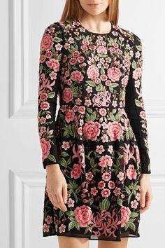 NEEDLE & THREAD Tulle-trimmed embroidered crepe mini dress