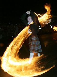 In Stonehaven, Scotland, revellers celebrate Hogmanay, the Scottish celebration of New Year's Eve, by swinging baskets of fire above their heads. At the end of the procession the flaming baskets are thrown into the sea.