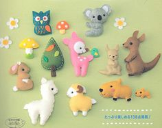Easy & Cute Felt Mascots Japanese Felt Sewing eBook / PDF / Pattern / Instant Download - Animals, Birds, Matryoshka Dolls, Fruit, Sweets