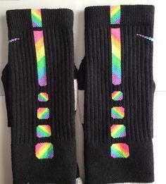 nike+socks | Custom ZIG ZAG Rainbow Nike Elite Socks Sz Large by ParsonsPlace4