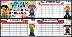 Calendario 2017 para trabajar las emociones por meses CURSO 2016-2017