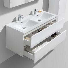White Gloss Bathroom Furniture Unit & Basin from Crosswater www. Basin Vanity Unit, Vanity Units, Bauhaus, Toilette Design, Sink Units, Modern Bathroom, Bathroom Ideas, Bathroom Remodeling, Bathroom Furniture