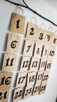 24 set of Brown Kraft Paper Bags - make your own cute Advent Calendar!  https://www.amazon.com/s/ref=nb_sb_noss?url=me%3DA37CZKIAGZK4YV&field-keywords=gift+paper+bags+with+handles