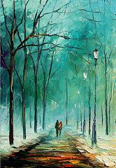 Leonid Afremov - Winter - PALETTE KNIFE...