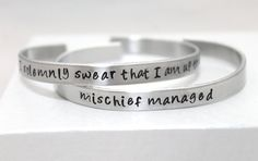 I Solemnly Swear That I Am Up To No Good and Mischief Managed Bracelets, Potter Inspired, Handstamped Aluminum, Friendship, Couples