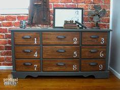 outdated dresser gets vintage industrial vibe, painted furniture, rustic furniture