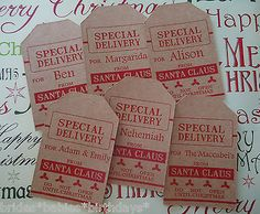 10-Kraft-Brown-Gift-Tags-SPECIAL-DELIVERY-SANTA-Christmas-Favour-Personalised