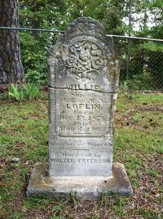 Old headstone in Calhoun county, MS. If you were murdered in those days, the murderer's name is at the bottom of the headstone.