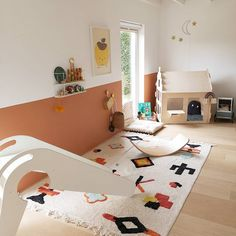Kids bedroom with playhouse and slide. Baby Girl Room Decor, Room Decor Bedroom, Kids Interior, Cool Kids Bedrooms, Playroom Design, Playroom Storage, Playroom Ideas, Kids Decor, Home Decor
