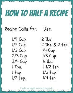 How to Half a Recipe - Pinning this now to print and keep in my kitchen later!! This will be SO NICE when I need it!