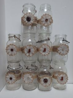 10 Mason Jar Primitive Burlap Daisy Wood Cowgirl Boots Wedding Decorations