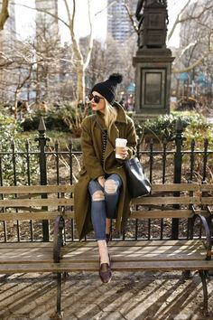 tee and jeans with coat