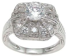 Antique Style Sterling Silver CZ Engagement Ring