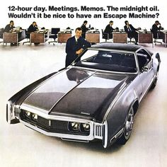 Cars, architecture and album covers. Oldsmobile Toronado, Car Memes, Car Advertising, Sweet Cars, Us Cars, Old Ads, Automotive Design, Vintage Ads, Cars And Motorcycles