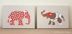 Set of two elephant silhouette appliqued wall panels - 9 x 12 inches in red, blue and linen Amy Butler prints