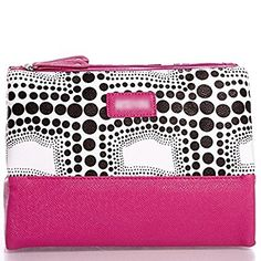 Kenneth Cole Reaction 3-compartment Cosmetics Bag; Chic Style Pyramid Cosmetic Case Folds Out Into Three Handy Compartments (Pink/black and White Polka Dot)