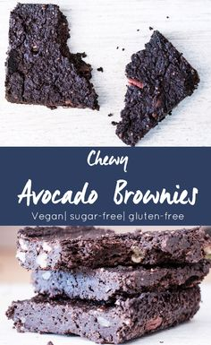 The most delicious and healthy Brownies made from avocados. Totally sugar free, vegan, and gluten free.