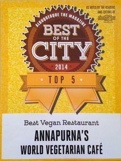 Best of the City 2014 - Top 5 Best #Vegan #Restaurant! #Ganesha #vegan #vegetarian #glutenfree #annapurna #albuquerque #santafe #newmexico #chai #ayurveda #tea #fourthstreet #yale #unm #silver #ayurvedic #bestofthecity
