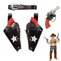 New 18*11cm cowboy pirate toy gun with belt holster plastic gun prop full set knight guns props halloween party cosplay